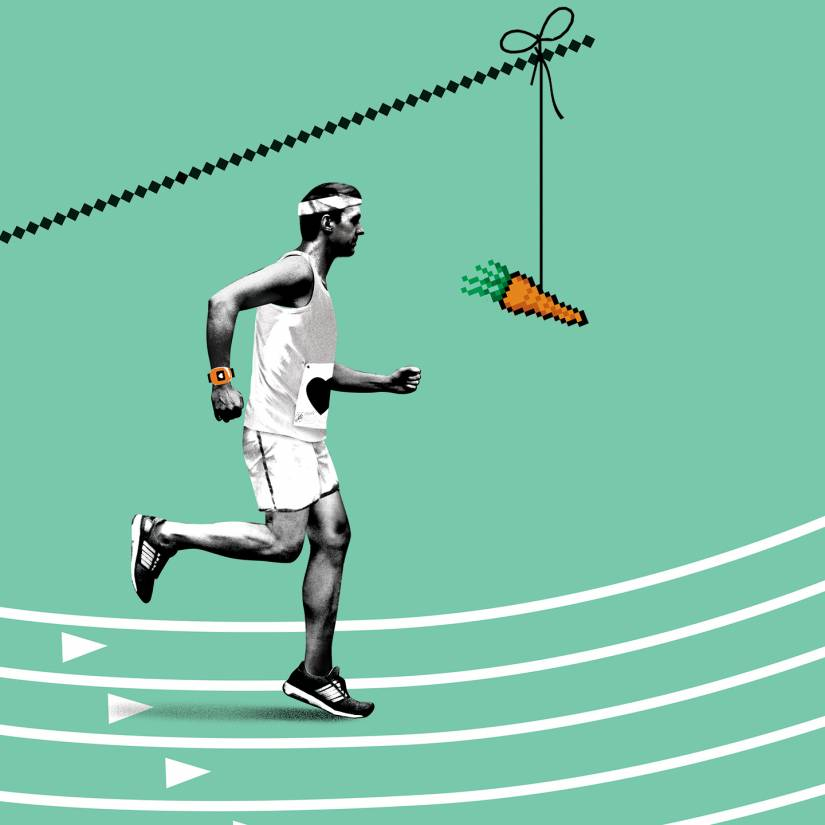 A runner is motivated by a digital carrot