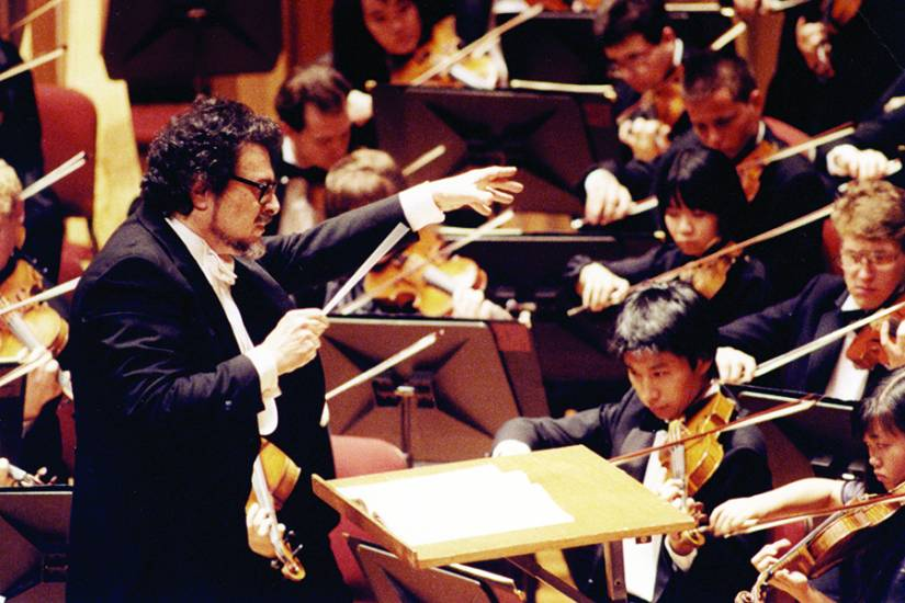 Fleisher conducts the Peabody Symphony Orchestra, c. 1990