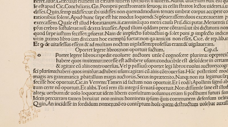 A page of printed Latin depicts a faded ink caricature of a man leaning out from a bottom paragraph, holding a book