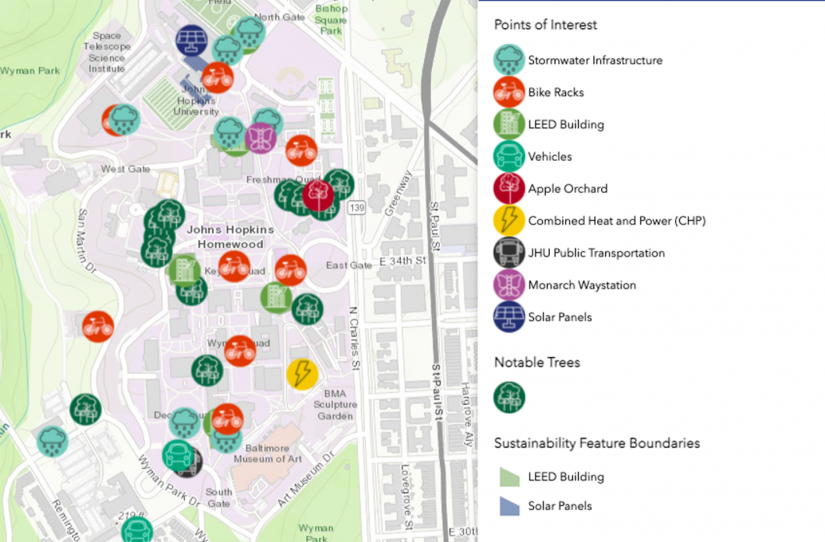 The GIS Information Map provides a guide to sustainable points of interest throughout the Homewood campus.