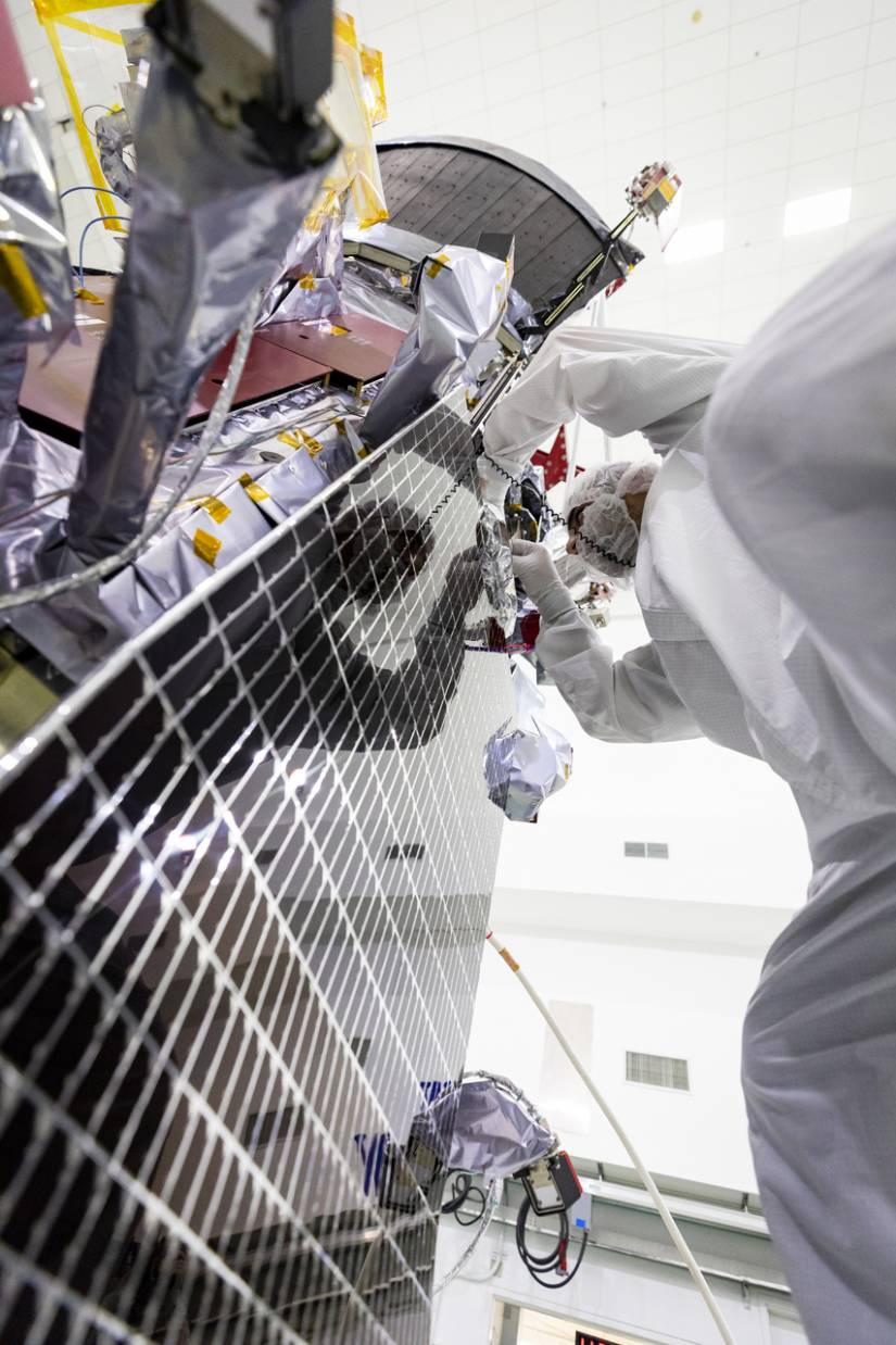 Scientist installs solar arrays