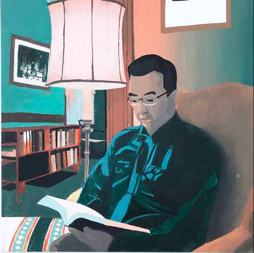 Painting of a man reading a book