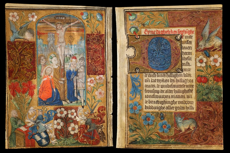 This page spread shows, in heavily illuminated and painted script, images of Christ on the cross, plants, animals, and Mary