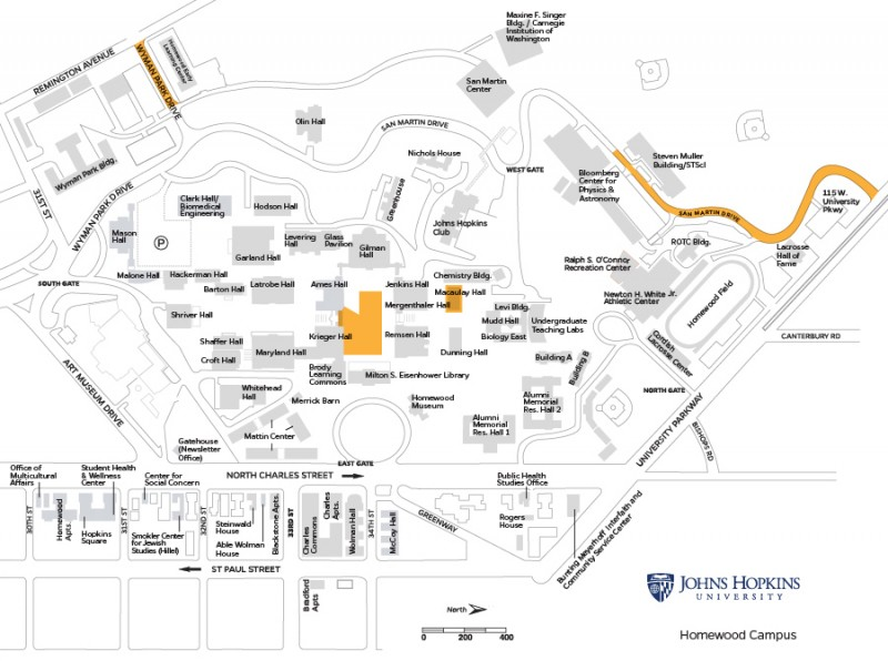 campus map shows areas of construction in front of Krieger and Ames Halls, Macauley Hall, and along Wyman Park Drive and San Martin Drive