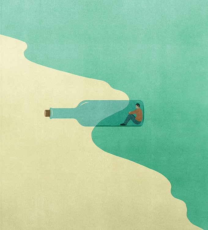 Illustration by Alessandro Gottardo features a man in a glass bottle between the ocean and the sand