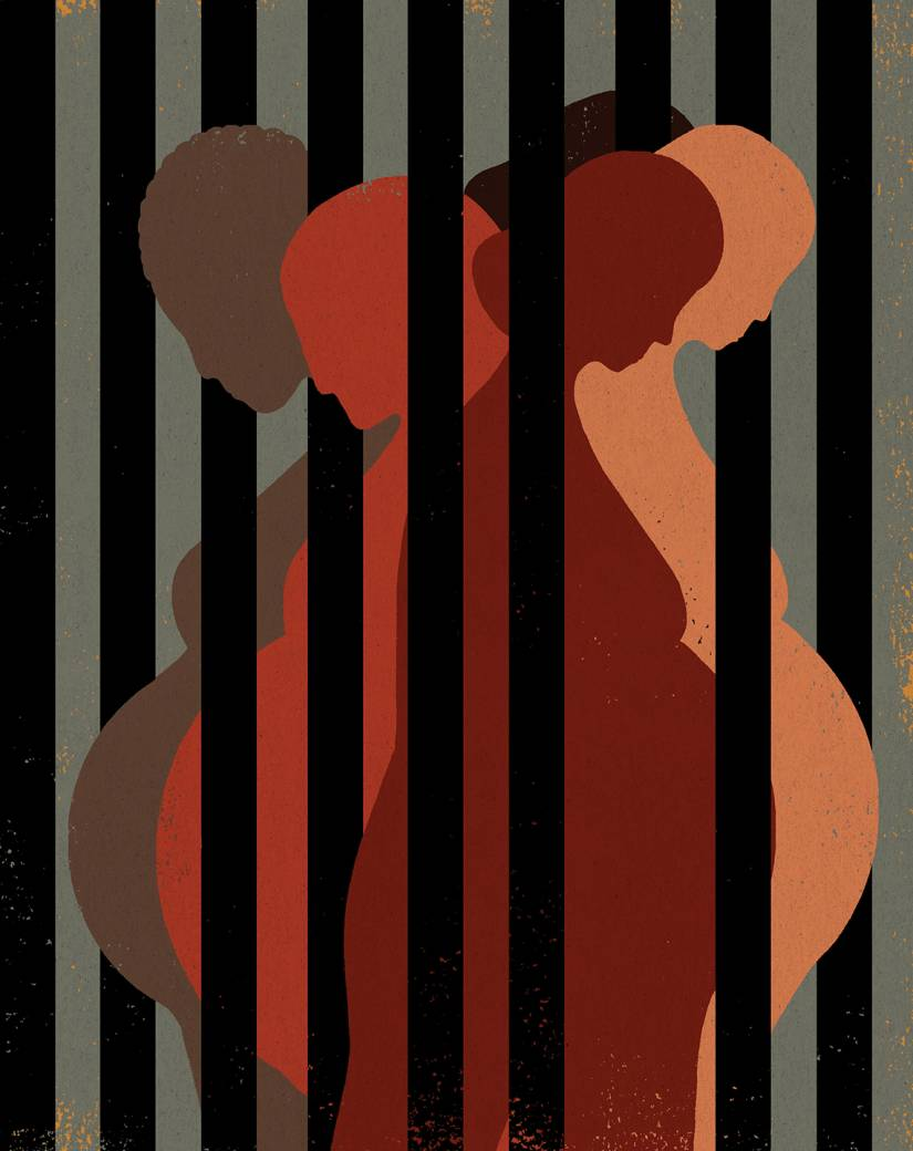 Illustration of pregnant women behind bars