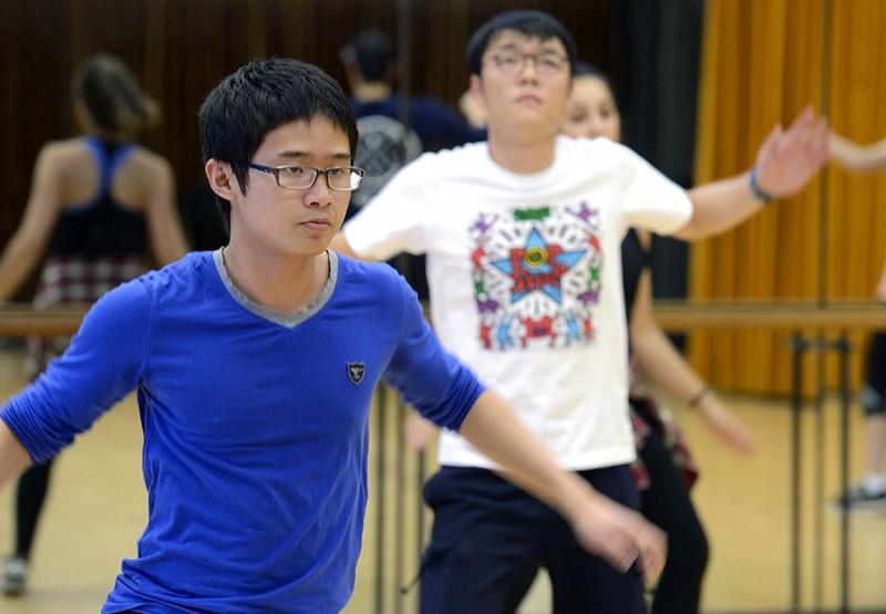 Students dancing in hip-hop class