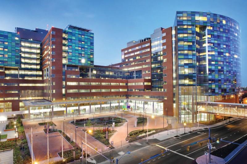 Front of Johns Hopkins Hospital at dusk