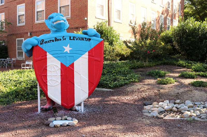 The Blue Jay statue outside the Fresh Food Cafe painted with the Puerto Rican flag