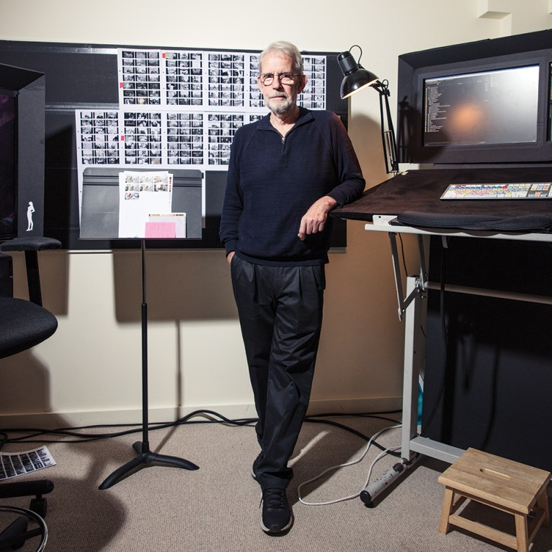 Walter Murch stands in his film editing studio