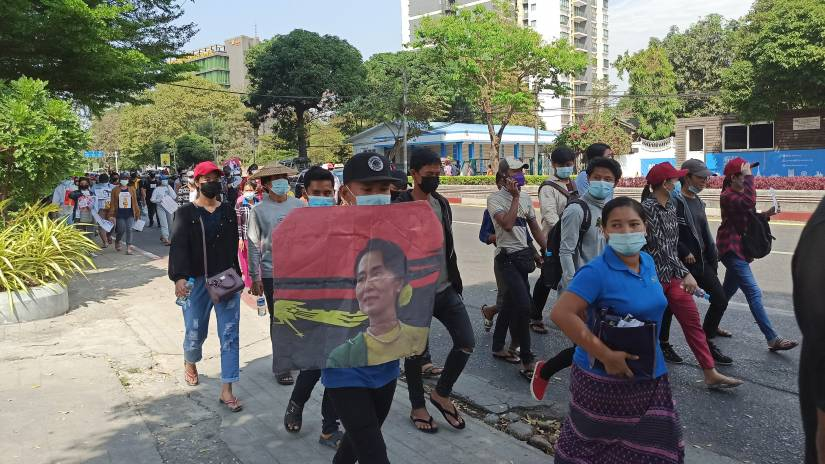 Protesters march in Myanmar