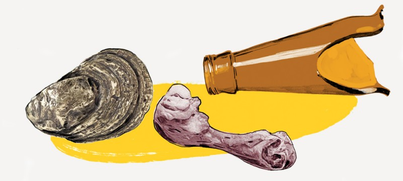Illustration shows a ham bone, oyster shell, and broken bottle