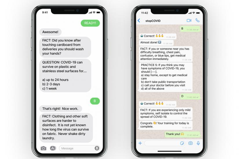Phone screens show coronavirus training messages