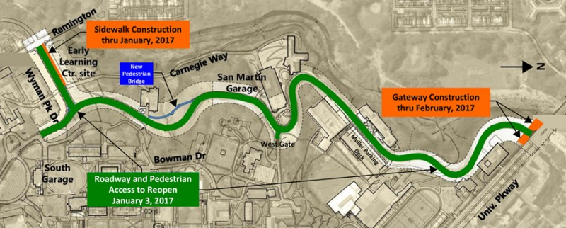 Aerial map of San Martin Drive shows a green path indicating the road is open end-to-end