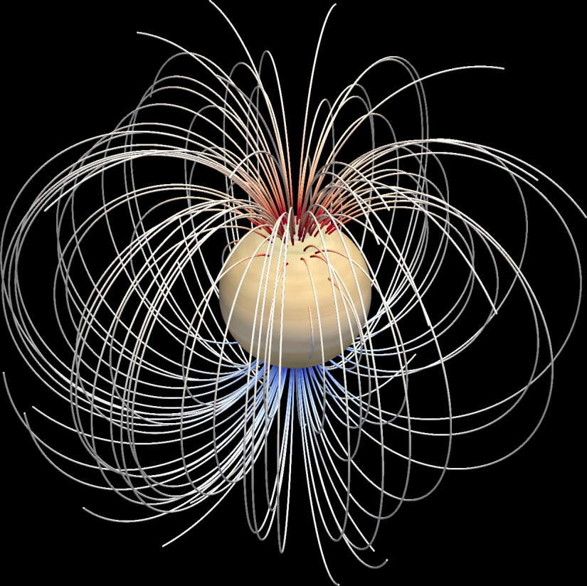 Graphic shows magnetic fields around Saturn