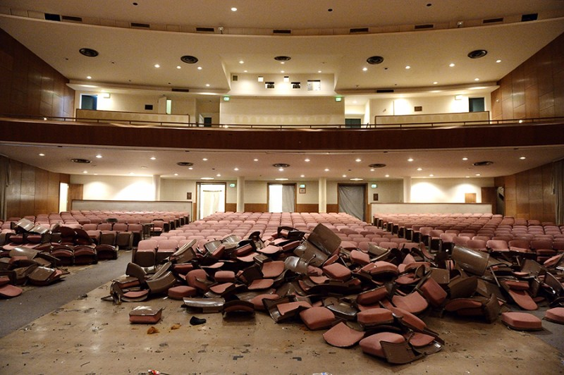 Inside Shriver Hall, mountains of chairs begin to me pulled up and removed from the ground.