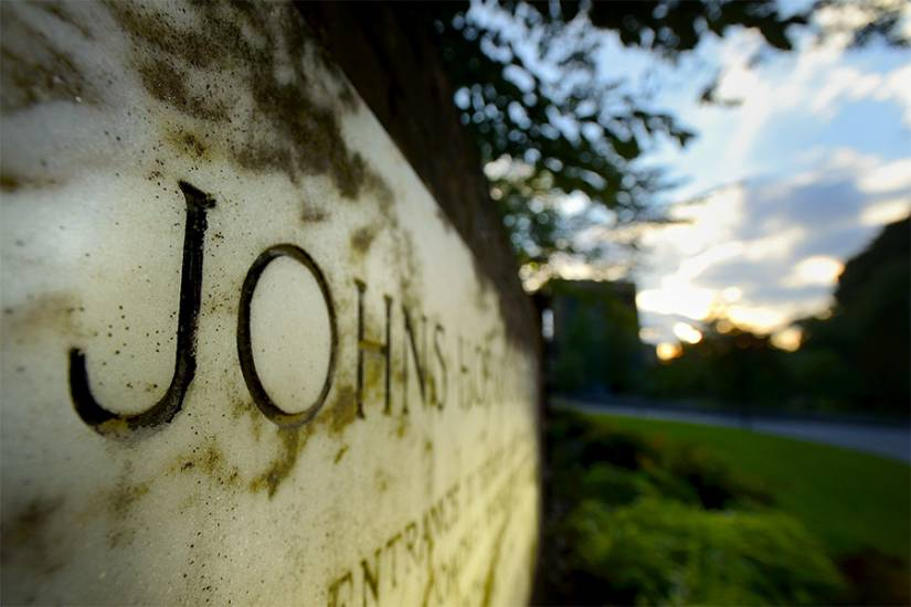 Close-up of the Johns Hopkins University sign