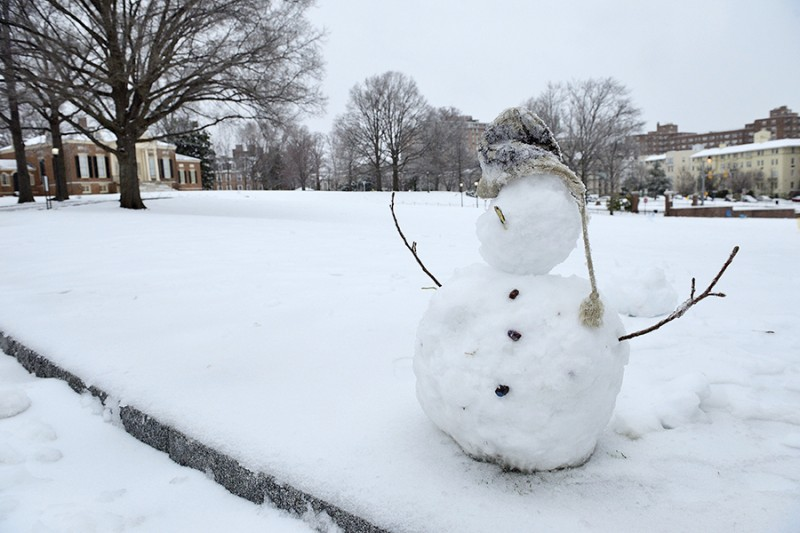 A two-tiered snowman on the JHU's campus