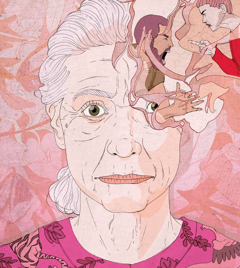 Conceptual illustration of an older woman remembering a traumatic event