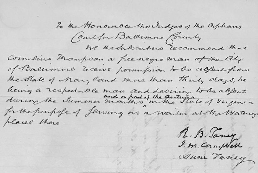 A handwritten travel permit