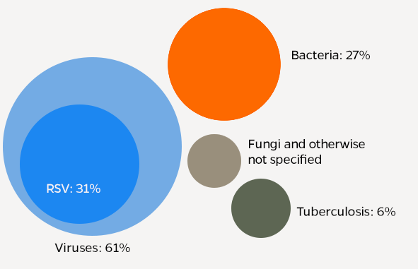Infographic shows the leading causes of pneumonia including viruses, fungi, and bacteria