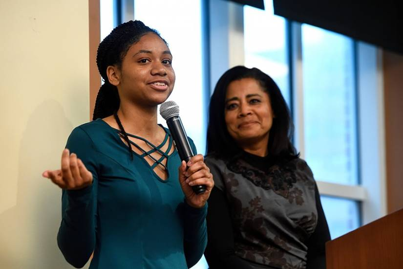 Maya Foster and trustee Renée Chenault-Fattah