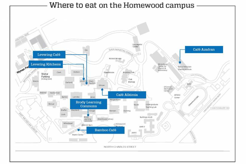 Homewood campus map showing locations of restaurants in story