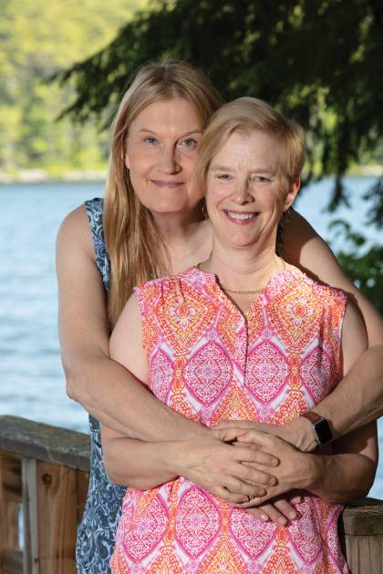 Jenny Boylan and wife Deedie at their lake house in Maine