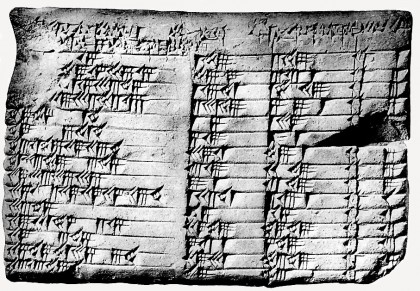 black and white photo of tablet shows ancient markings in four columns