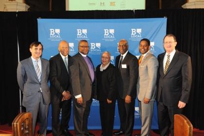 Group photo of speakers at BLocal event: From left: Ronald J. Daniels, Rep. Elijah E. Cummings, Bishop Douglas Miles, Diane Bell McKoy, Michael Cryor, Calvin J. Butler Jr, Ronald R. Peterson