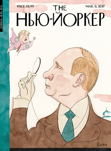 cartoon depicts Vladimir Putin with a monocle eyeing a butterfly with Donald Trump's head