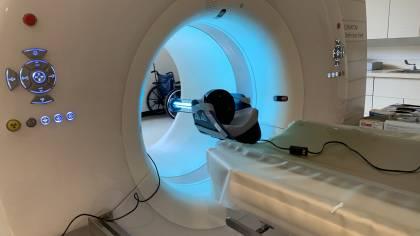 UV-C light irradiates the inner bore of a CT machine