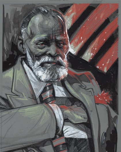 Illustration of Chester Himes in grays, blacks, and reds