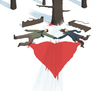 Illustration shows two people holding hands laying on their backs in the snow, a broken sled, bloody tree, and pool of blood nearby