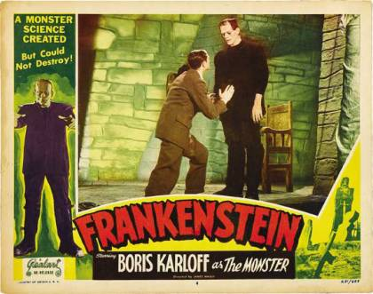 Movie poster for Boris Karloff in Frankenstein