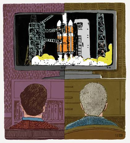 Illustration of a man and father watching a rocket launch