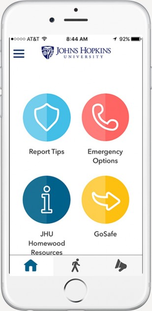 Livesafe app interface features four icons in light blue, red, dark blue, and yellow