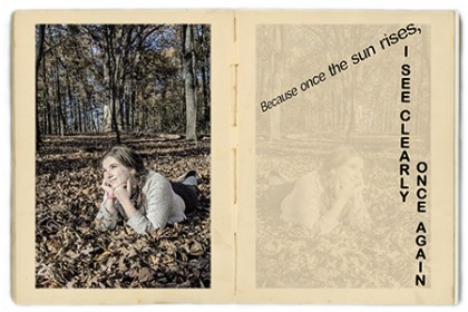 Picture of girl in leaves, part of student artist's book exhibition