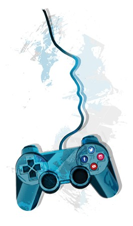 Illustration depicts a video game controller with social media share buttons instead of controls, and the outline of a face drawn by the controller's cord