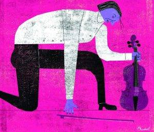 Modern-style illustration of a kneeling person holding a violin and a bow
