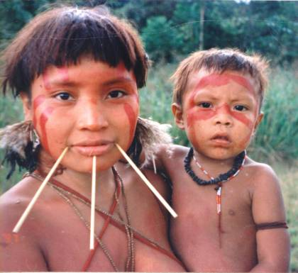 A Yanomami woman and child