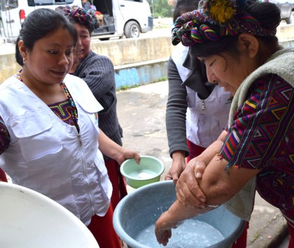 Grandmothers in Guatemala learn correct hand-washing techniques