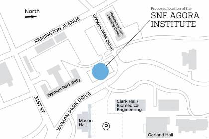 Locator map of proposed location for SNF Agora Institute building