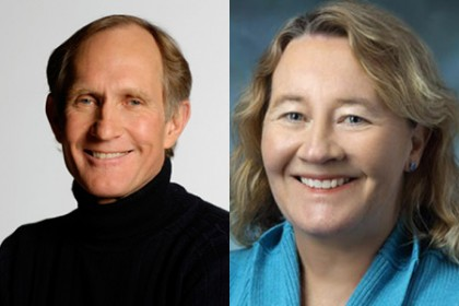 Peter Agre (left) and Carol Greider (right)