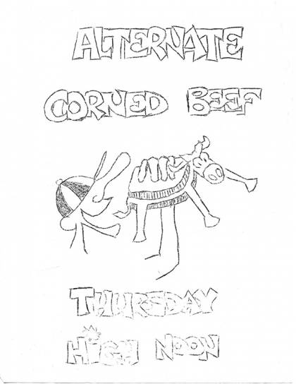 Flyer for 'alternate corned beef'