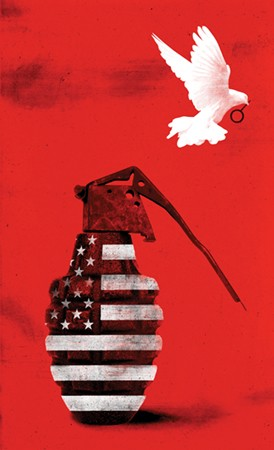 Illustration depicts a grenade patterned with the American flag, and a dove flying away carrying the grenade pin in its beak