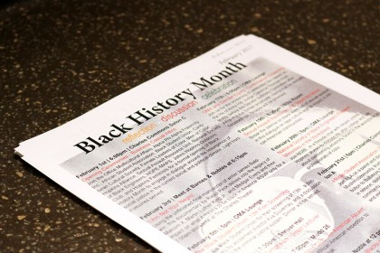 Paper with list of Black History Month events