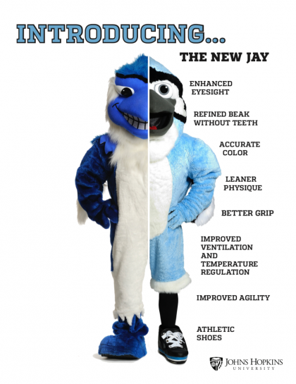 Graphic shows physical changes between the old Blue Jay and the new model
