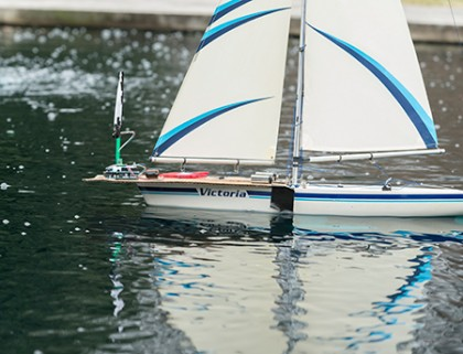 Sailboat equipped with sensors races in fountain