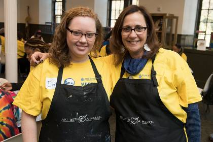 Eve and Robin Carlson team up at Art With a Heart during Johns Hopkins' inaugural MLK Jr. Day of Service, January 2018